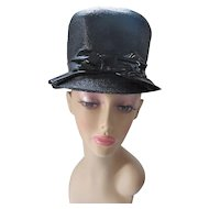 Mod Style 1960/1970 Era Bucket Hat in Black Straw with Patent Leather Bow Neiman Marcus