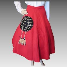 Fun Felt Circle Skirt in Cherry Red Hot Air Balloon in Black and Gold Traveling Men in Suits