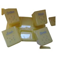 Baby Dresser Set in Sun Yellow Plastic Cotton, Nipples, Swabs and Boric Acid by Carolyte Made in USA