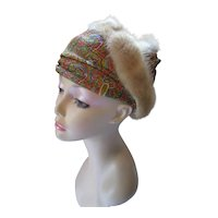 Unusual Turban Style Hat in Orange, Green, Blue Metallic Paisley & Mink Coil