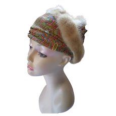 Unusual Turban Style Hat in Orange, Green, Blue Metallic Paisley & Mink Coil