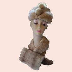 Three Piece Mink Hat Collar & Purse Champagne Tone Mid Century