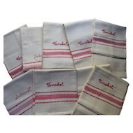 Set Nine Unused 1946 Kitchen Towels in Embroidered Red Work Original Owner Name Marshall Field & Co Red Crest Brand Original Box