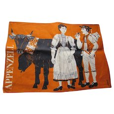 Fabulous Vintage Kitchen Towel Orange Background Black Bull with Peasant Couple Appenzell Signed Unused