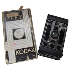 Vintage Jiffy Kodak Six-20 Folding Camera Deco Styling Original Box Eastman Kodak Circa 1933-1937