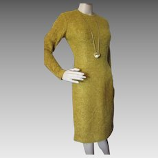 1960 Office Dress Mustard Tone Boucle Slim Sheath Style Vintage Clothing Mid Century Dress Corporate Lady Fashion Size Small