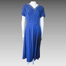Mid Century Office Dress in Electric Blue Knit with Rhinestone and Faux Pearl Neckline Size Small Medium