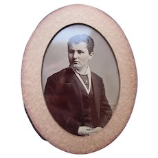 Large Tintype of Young Man 21 Years Old in 1878 Oval Shape Partially Framed:John Geiger