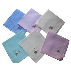 Embroidered Handkerchiefs Matched Sets Pastel Colors