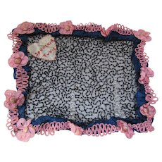 Unusual Beaded Souvenir of Tunis in Black Beads and Pink Trim Embroidered Heart Tourist Trade Free Shipping USA