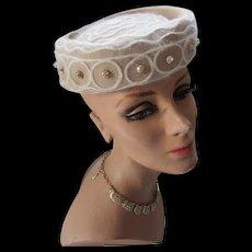 Handsome Beige Felt Pill Box Hat with Cream Angora Trim Mid Century