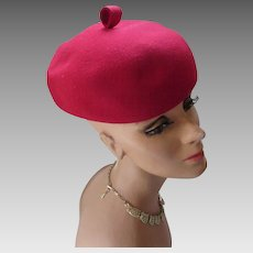 Cherry Red Felt Bubble or Beret Hat Mid Century Style Winter and Fall Vintage Hat