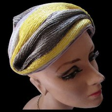 Handsome Half Hat in Lemon Yellow and Dove Gray Cellophane Straw Swirls by Mary Armour and Armstrong Exclusive