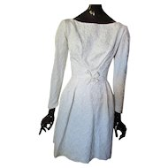 Gorgeous 1950 1960 Era Winter White Brocade Cocktail Dress or Wedding Dress Size XS