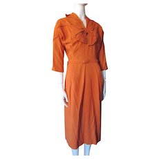 Mid Century Woman's Dress in Squash Orange Twill for Office or Day Wear