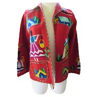 Mexican Theme Wool Embroidered Jacket with Yarn Embroidery Size Small