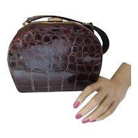 Alligator Style Deep Brown Handbag Purse Bell Shape Marshall Field & Co