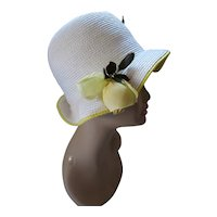 Pretty Cloche or Bucket Hat in White Straw Yellow Rose Emme Boutique