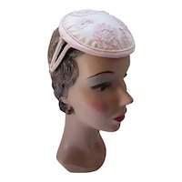 Pretty in Pink Cap Chiffon, Lace, Faux Pearls