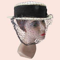 Boater Style Hat in Cream with Black Ribbon Band Spring Summer
