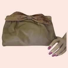 Mid Century Beige Clutch Purse Snakeskin Frame Marshall Field Company Made in Hong Kong