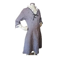 1960 Era Black White Houndstooth Dress with Eyelet Lace Trim Charmode Sears Roebuck