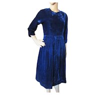 Vintage Midnight Blue Velvet Dress Home Tailored for Costume or Theater Production