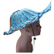 Unusual Folding Sun Hat in Turquoise Print with Wood Sticks Open at Back Summer Hat for Easy Travel Accessory
