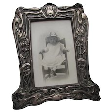 Art Nouveau Picture Frame with Toddler Girl Portrait Velvet Back