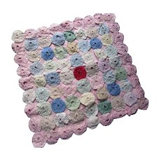 Vintage Yo Yo Style Pillow Cover in Pink and Pastel Cotton Prints and Solids Hand Made Free Shipping USA