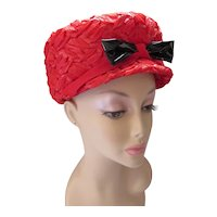 Mid Century Hat Cherry Red Weave Black Patent Bow