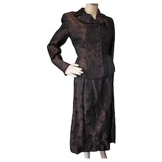 Mid Century Evening Suit Copper and Black Brocade Saks Fifth Avenue