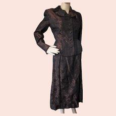 Mid Century Evening Suit Copper and Black Brocade Saks Fifth Avenue