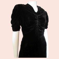 1940 Era Black Velvet Ruched Dress