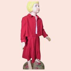 Little Girl Jacket & Jumper Set Cherry Red Wool Blend