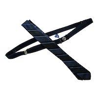 1960 Era Skinny Tie Adjustable Belt in Black, Blue, Green Stripe Pioneer Brand