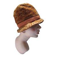 Authentic 1920 1930 Cloche Hat in Copper Devore Velvet & Beads