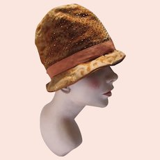 Authentic 1920 1930 Cloche Hat in Copper Devore Velvet & Beads