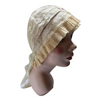 Boudoir Cap Early 20th Century Lace Ribbon Roses Silk Pleats for Display or Salvage