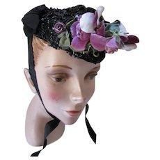 Victorian Era Black Bead Mourning Bonnet Purple Flower Decoration