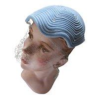 Pretty Sky Blue Half Hat Clam Shape Woven Cord