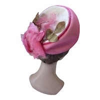 Mid Century Hat Peony Pink Chiffon & Pink Rose Marche Exclusive