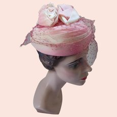 Topper Hat in Shades of Pink with Rolled Roses Crown