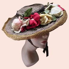 Cartwheel Style Hat Wide Brim Chocolate Brown Straw Profusion of Roses Swag
