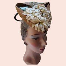 Fascinating Straw Tilt Hat Triangle Shape 1940 Era Petal Blossoms