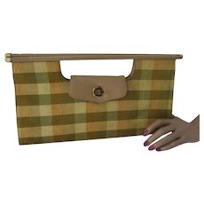1960 Style Purse in Green Gold Plaid O'Conner & Goldberg