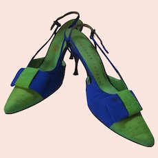 Joseph's Herbert Levine Sling Back Shoes Royal Blue Lime Green 8 1/2 AA