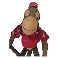 Adorable Hand Made Organ Grinder Monkey Stuffed Toy in Khaki and Red Bandanna