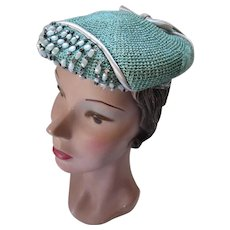Mid Century Hat in Textured Sea Foam Green & Baubles Fifth Avenue Designers Group