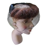 Mid Century Mink Circle Hat Black Velvet & Satin